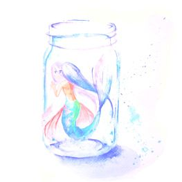 mermaid in a jar watercolour